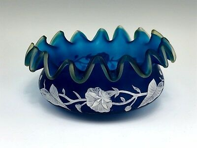 Victorian English Blue Cameo Glass Morning Glory Decorated Ruffled Bowl