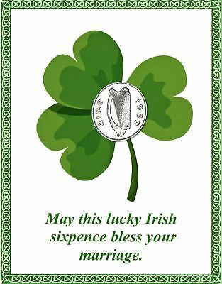 Lucky Irish Sixpence with Card for the Bride New