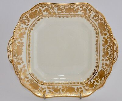 Antique HAMMERSLEY Tab Handle Cake Plate / Serving Dish - Golden Floral #14433