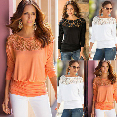 Womens Casual Long Sleeve Shirt Tops Loose Blouse Ladies Lace Baggy Top Jumper