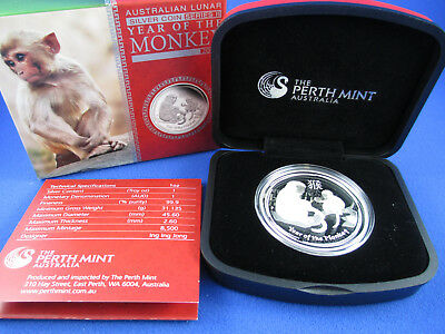 2016 $1 Year of the MONKEY 1oz Silver Proof Coin. COMPLETE. SUPERB!!