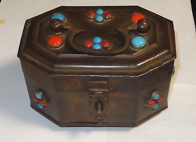 Rare Large Vintage India Faux Turquoise And Coral Stone Brass Box Lock & Key