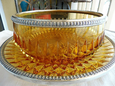 Antique 800 Sterling Silver Rimmed Amber Glass Serving Bowl Plate