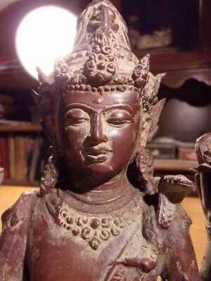 Antique 6-Armed Hindu God Shiva Bronze Sculpture Waiste-Up 9-3/4 by 8 inches
