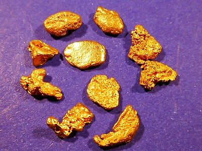 10 Sparkling Clean Australian Gold Nuggets  ( 2.59 grams) .+ FREE GIFT.