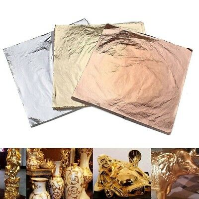 100/200/300 x Gold Silver Leaf Foil Paper Gilding Art Craft Food Decor 14x14cm