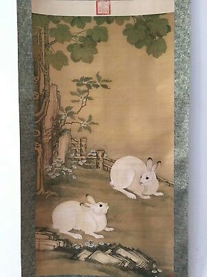 Collectible Old Decorated superb Chinese long Scroll Painting Pair Vivid Rabbit