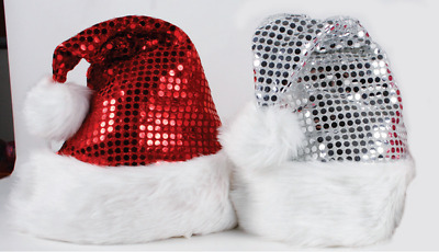Christmas Assorted Colour Sequin Santa Hat Pk 1 (1 HAT ONLY)