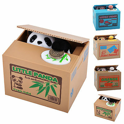 UK Panda Stealing Coin Money Cat Penny Cents Piggy Bank Saving Box Kid xma Gift