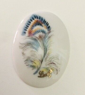 Limoges Annee 60 -  1 Plaque Porcelaine Ovale 31/41 Mm Decor Plume