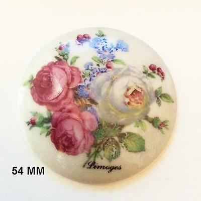 PIECE UNIQUE LIMOGES 1 PLAQUE PORCELAINE LIMOGES 54 mm DECOR  BOUQUET