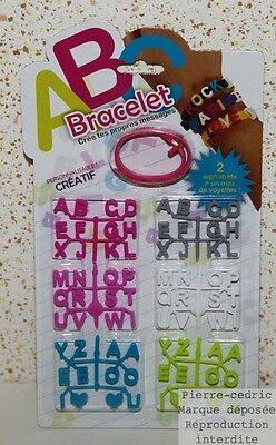 Lot 3 Kits Bracelet Message 2 Alphabets And 4 Hearts Creates your own messages