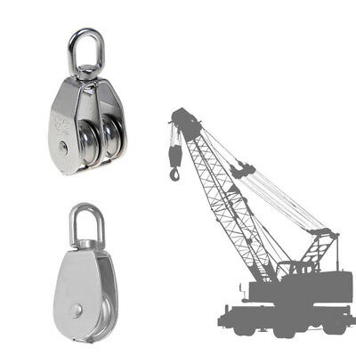 Double+Single Pulley Swivel Sheave Rope Wheel Rope Tackle Block M75 Silver