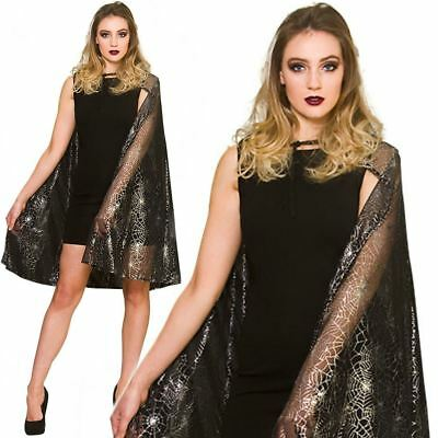 Adult Shimmering Spiderweb Cape Cloak Fancy Dress Halloween Witch Costume New