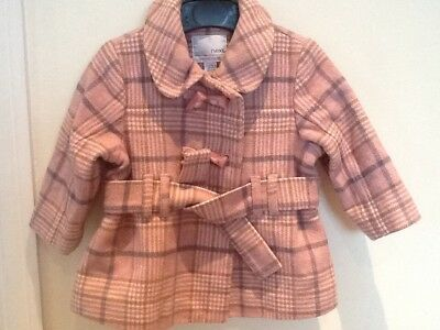 Next girls winter coat 9-12months EXCELLENT condition pink check jacket