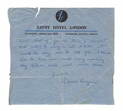 President Ronald Reagan Signed Handwritten Letter c.1948 London, BGS Beckett LOA