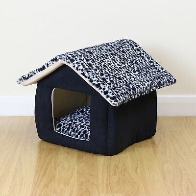 Soft Black Small House Style Pet Bed Igloo Warm/Cosy Cave Cat/Kitten/Puppy/Dog