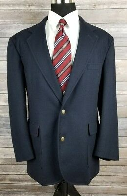 Vintage Pendleton Mens Navy Wool Brass Two Button Sport Coat Jacket Size 42L