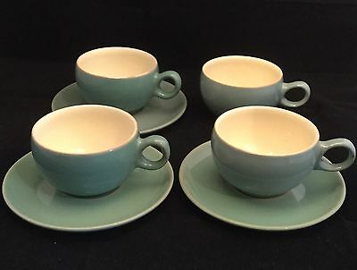 Vintage Circa 1950's Denby Stoneware Manor Green 4 x Tea Cups & 3 x Saucers