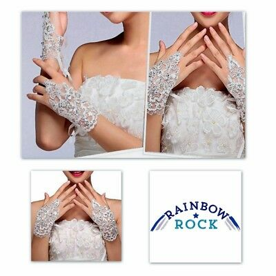 Vintage Style Lace & Rhinestone Fingerless Gloves.  Hand Decor. Wedding. Prom
