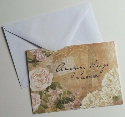 Set of 8 Blank Notecards & Envelopes ~  Amazing Things Will Happen Floral