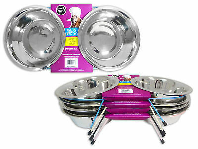 Dog Feeding Bowls Stainless Steel Raised Double Diner Water Food Bowl 0.75l