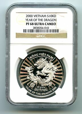 """Vietnam Annam ~ 2000 ~ 10 Dong ~ Silver ~ """"year Of The Dragon"""" ~ Ngc Pf68 Uc"""