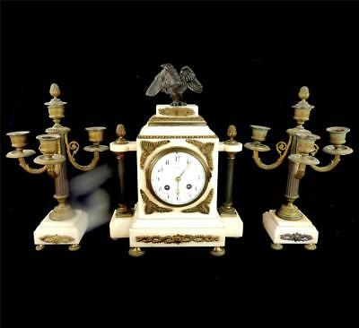 Antique 19Th French Marble Cased Clock Garniture Candelabra Eagle Surmount
