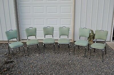 Vintage 1950`s  Lot of 6 Chrome Chairs-Professionally restored
