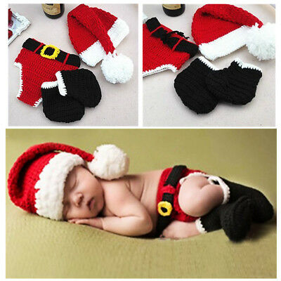 Christmas X-mas Santa Newborn Baby Crochet Knitted Costume Hat Outfit Clothes US