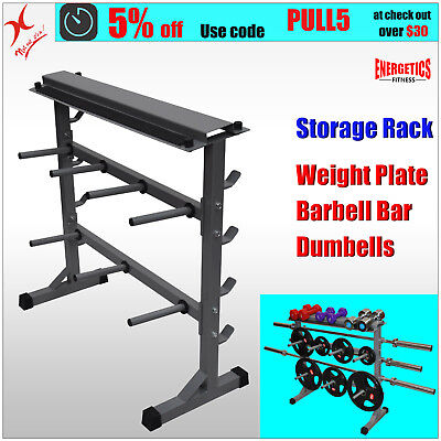 Weights Plates - Dumbbell & Barbell Bar Storage Rack - Stand Holder Weight Rack