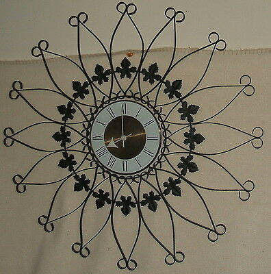 "Starburst Style Metal Wall Clock,  25-1/2"" diameter, Very Nice Condition"