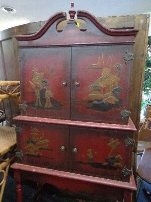 Antique Chinoiserie Tole Painted Chinese Chest FREE DEL. Cabinet Cupboard