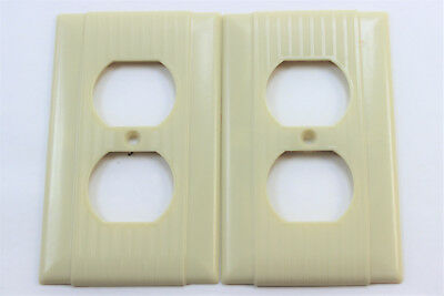2 Vtg Uniline Ribbed Ivory Bakelite Outlet Receptacle Wall Plate Covers Art Deco