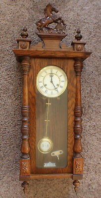 Vintage Wuba 31 Day Wall Clock Pendulum & Chimes with Key Works Great!!