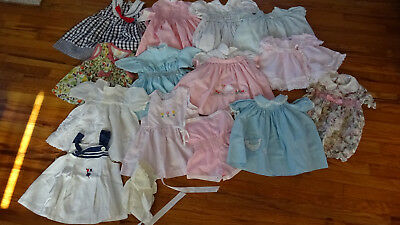 Lot of 14 Vintage Baby Girl Dresses Rompers 1950s-80s Smocked Handmade 6m- 2T