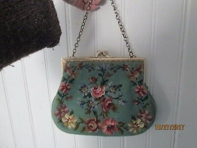 vintage floral TAPESTRY NEEDLEPOINT Floral Wool gold Tooled Hand Bag Purse
