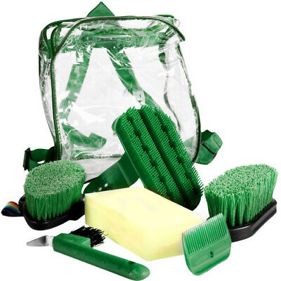 Horze 6 Piece Unisex Horse Care Grooming Set - Dark Green One Size