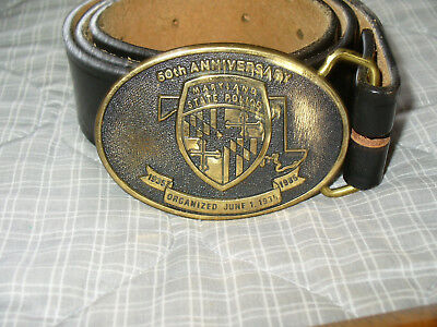 Maryland State Police 50th Anniversary 1935-1985 Brass Belt Buckle Numbered Belt
