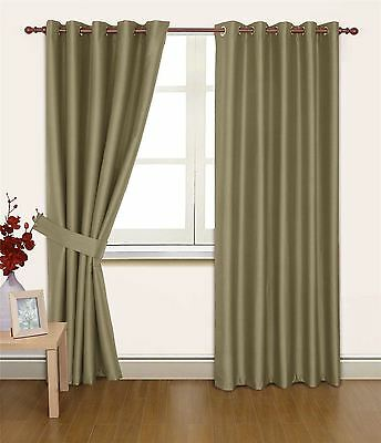 Taupe Faux Silk 90X72 Thermal Lined Blackout Heavyweight Anneau Top Curtains