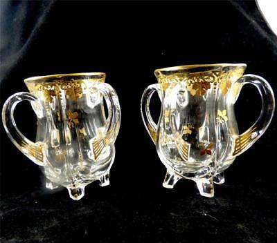 Pair Antique Four Handled Glass Tyg Gilt Enamel Decoration