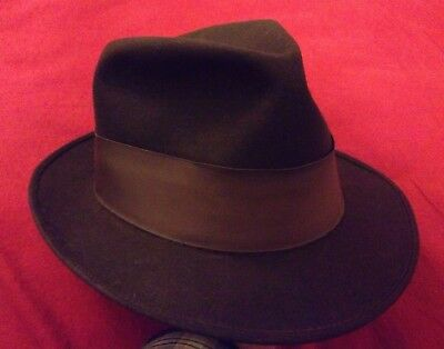 Disney New York vintage Fur Felt Fedora hat brown 7 5/8 long oval 1950s OFFER!