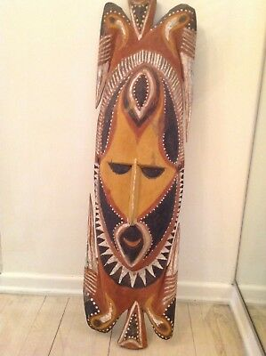 "Old Carved African Primitive Tribal Wood Painted Mask - Large 36"" x 11"""