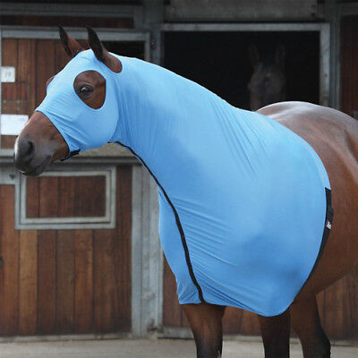 Shires Full Face Unisex Horse Rug Stretch Hood - Blue All Sizes