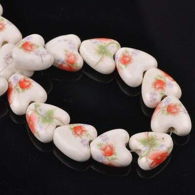 NEW 10pcs 14mm Ceramic Heart Flowers Loose Spacer Beads Findings Pattern #26