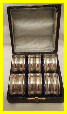 Set Of Six Boxed Silver Plated Napkin Rings,late Victorian/edwardian