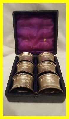 Victorian Set Of Six Numbered/boxed Silver Plated Napkin Rings,james Dixon Sons