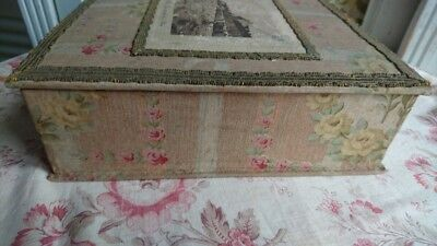 RAVISSANTE ANTIQUE FRENCH FADED ROSES TEXTILE BOUDOIR BOX c1900 ROSE SWAGS