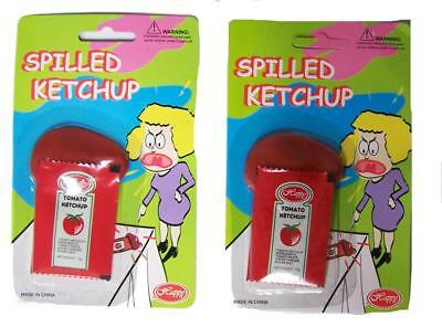 2 FAKE SPILLED KETCHUP PACKET funny practicial joke fun prank gag novelty new