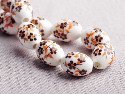 NEW 10pcs 15X10mm Oval Ceramic Spacer Findings Loose Beads Flowers Pattern #6